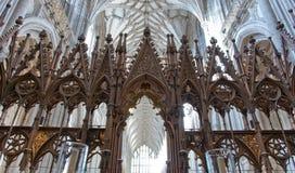 在温彻斯特大教堂,英国里面的唱诗班 免版税图库摄影