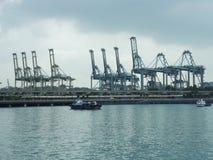 在港口举办处理作用的沿海贸易,并且处理新加坡` s运输新加坡的港  免版税库存图片