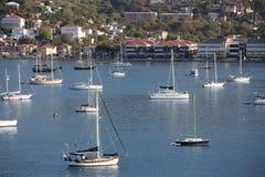 在港口停泊的风船 库存图片