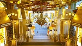 在港口城市,香港的圣诞节装饰 库存照片