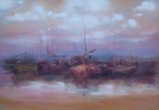 在港口手工制造绘画停泊的小船 免版税库存照片