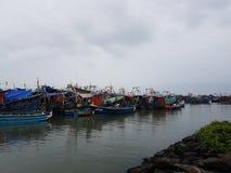 在港口的小船 库存图片