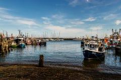 在港口的日出 免版税图库摄影