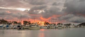 在港口的日落达讷论点的在加利福尼亚 免版税图库摄影
