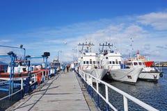 在港口的游轮,乌斯怀亚阿根廷 库存照片