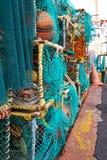 在港口的被堆积的龙虾笼子 免版税库存图片