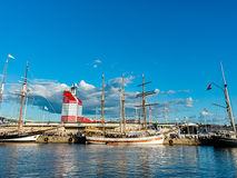 在港口的Sailingships 图库摄影
