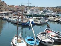 在港格里莫,法国的小船 库存照片