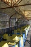 在游乐园的过山车 库存照片