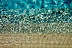 在游泳池步骤的任意波纹 免版税库存照片