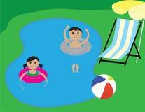 在游泳池的孩子 暑假例证 免版税图库摄影