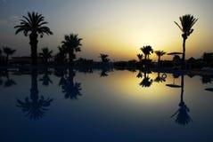 在游泳池的日出 库存照片