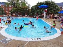 在游泳池的星期六 免版税图库摄影