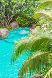 在游泳池的极可意浴缸 库存照片