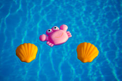 在游泳池的橡胶玩具 免版税库存照片