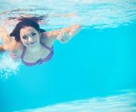 在游泳池的水下的妇女画象 免版税图库摄影