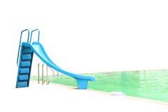 在游泳池的滑子 免版税库存图片