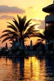 在游泳池边的日落 库存图片