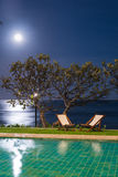 在游泳池附近的太阳床在夜间 免版税库存照片