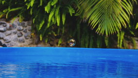 在游泳池水的肥皂泡飞行Cinemagraph  股票视频