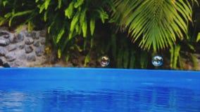 在游泳池水的肥皂泡飞行Cinemagraph  影视素材