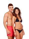 在游泳衣的爱恋的夫妇 免版税图库摄影