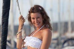在游艇的微笑 库存照片