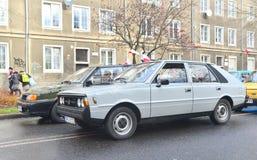 在游行期间的经典之作波兰汽车Polonez 库存照片