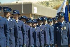 在游行特写镜头的南非警署与高级官员 免版税库存图片