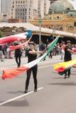 在游行的挥动的旗子 库存照片