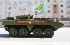 在游行的排练的俄国防弹车在莫斯科 免版税库存照片
