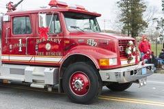 在游行的消防车 免版税图库摄影