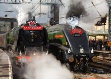 在游行的蒸汽火车 库存照片