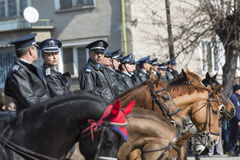 在游行的马警察 图库摄影