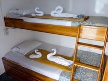 在游览小船的客舱,加拉帕戈斯群岛 图库摄影
