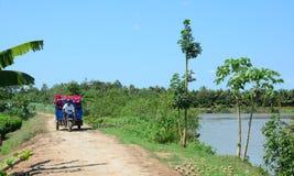 在湄公河三角洲的人运载的花,越南 库存图片