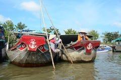 在湄公河三角洲,越南的生活 免版税库存照片