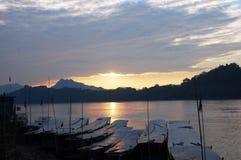 在湄公河的小船在Loas的琅勃拉邦 图库摄影