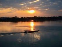 在湄公河的日出4000个海岛,老挝 库存照片