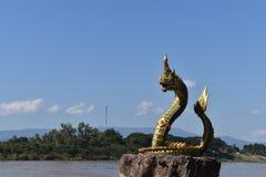 在湄公河的纳卡人雕象 免版税库存图片
