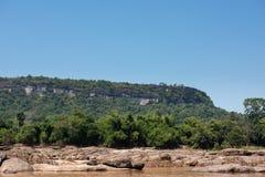 在湄公河的自然场面,乌汶叻差他尼的,泰国 免版税库存照片