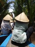 在湄公河运河的小船业务量 库存照片