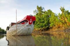 在湄公河Delta的小船。 库存照片