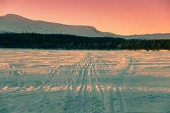 在湖、森林和山之上的美丽的夜间天空 免版税图库摄影
