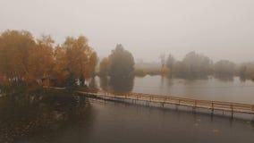 在湖中间的童话房子秋天有雾的早晨天线的 股票录像