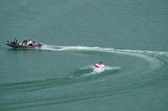 在湖乔治城得克萨斯的划船 免版税库存照片