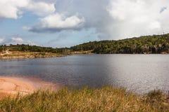 在湖休息在绿色森林 免版税库存照片