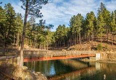 在湖入口的脚桥梁 库存图片