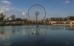 在湖反映的巴黎弗累斯大转轮 免版税库存图片