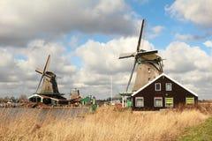 在湖和麦子旁边的两台风车在前景 免版税库存照片